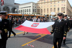 TAN parade of foreign navies. Poland flag royalty free stock photos
