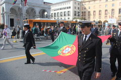 TAN parade of foreign navies. Portugal flag Stock Photo