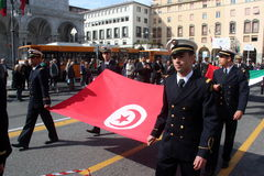 TAN parade of foreign navies. Turkey flag. TAN (sailing trophy Naval Academy of Livorno) parade of foreign navies in the streets of the city of Livorno (italy) royalty free stock photography
