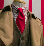 Tan raincoat & suit, checkered shirt, red tie. Close-ip of a tan raincoat & suit, checkered shirt and red tie Stock Images