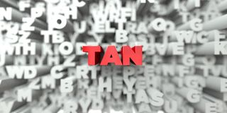 TAN -  Red text on typography background - 3D rendered royalty free stock image. This image can be used for an online website banner ad or a print postcard Royalty Free Stock Image