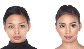 Tan Skin Asian Woman before make up. no retouch, fresh face with. Tan Skin Asian Woman before after make up hair do. no retouch, fresh face with acne then Royalty Free Stock Images