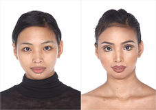 Tan Skin Asian Woman before make up. no retouch, fresh face with. Tan Skin Asian Woman before after make up hair do. no retouch, fresh face with acne then Stock Photography