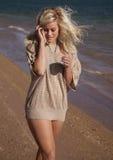 Tan top walk beach look down Stock Image