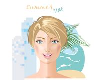 Tan woman portrait. Tan smiling woman. Two halves of face. City and sea background. Vector Royalty Free Stock Image