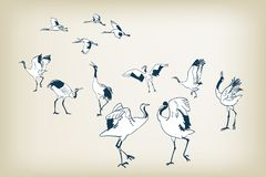 Tana dźwigowego ptasiego nakreślenia wektorowi japońscy ptaki royalty ilustracja