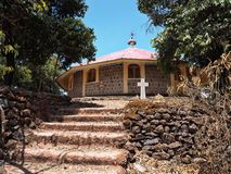 Tana Haik Eysus Zlany monaster na Jeziornym Taniec w Etiopia zdjęcia royalty free