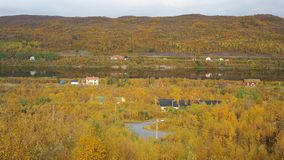Tana river. View of Tana river going through Polmak village in autumn, Finnmark region, Norway Stock Photos