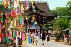 Tanabata节日在寺庙,京都日本的` s装饰 免版税库存图片