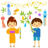 Tanabata cartoon set Stock Photos
