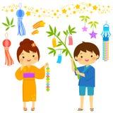 Tanabata cartoon set. Tanabata star festival in Japan. Cartoon kids and icons drawn in cute style Stock Photos