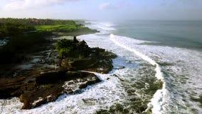 Tanah全部寺庙鸟瞰图在巴厘岛 影视素材