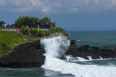 Tanah Lot, an Indonesian island. The temple; significantly influenced by Hinduism Royalty Free Stock Image