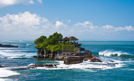 Tanah Lot Temple from a Distance, Bali. Impressive Temple in the Indian Ocean, located few hundreds feet from the shore Stock Image