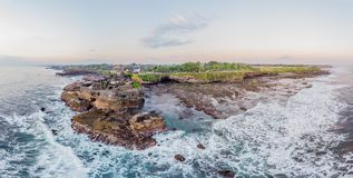 Tanah Lot - Temple in the Ocean. Bali, Indonesia. Photo from the drone Panorama, Banner, Long format. Tanah Lot - Temple in the Ocean. Bali, Indonesia. Photo royalty free stock photos