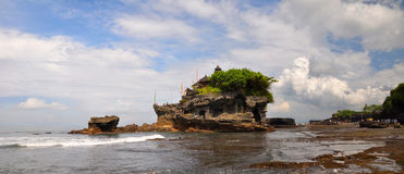 Tanah Lot Temple Panorama, Bali Indonesia Royalty Free Stock Photo