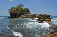 Tanah Lot Temple  on Rocks by Incoming Tide Stock Photography