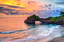 Tanah Lot Temple on Sea in Bali Island Indonesia.  Royalty Free Stock Photo