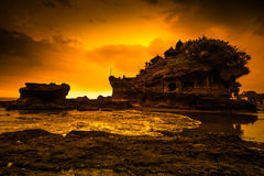 Tanah Lot Temple on Sea in Bali Island Indonesia Stock Photo