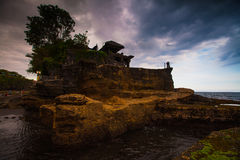 Tanah Lot Temple on Sea in Bali Island Indonesia Stock Photography