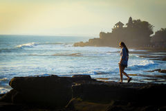 Tanah Lot Temple on Sea Stock Photography