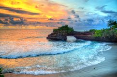 Tanah Lot Temple on Sea in Bali Island Indonesia.  Royalty Free Stock Image