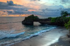 Tanah Lot Temple on Sea in Bali Island Indonesia.  Royalty Free Stock Images