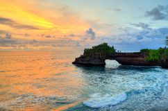 Tanah Lot Temple on Sea in Bali Island Indonesia.  Stock Image