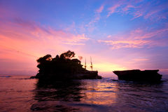 The Tanah Lot Temple at sunset, Bali, Indonesia. Royalty Free Stock Photography