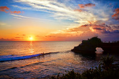 Tanah Lot temple. Sunset, Bali island, Indonesia Stock Photography