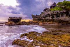 Tanah Lot water temple in Bali. Indonesia nature landscape. Famous Bali landmark Royalty Free Stock Images