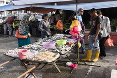 Tanah Rata,马来西亚, 2017年12月17日:人卖他的鲜鱼 免版税库存照片