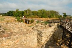 Tanais - excavation of the Ancient Greek city. Royalty Free Stock Photo