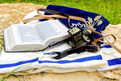 Tanakh Torah, Hebrew Bible, Tefillin and Tallit, Israel royalty free stock image