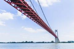 The Tancarville bridge. Is a suspension bridge over the Seine river Stock Photo