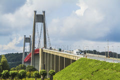 The Tancarville bridge. Is a suspension bridge over the Seine river Royalty Free Stock Photo