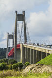 The Tancarville bridge. Is a suspension bridge over the Seine river Stock Image