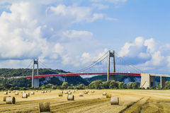 The Tancarville bridge. Is a suspension bridge over the Seine river Royalty Free Stock Photos