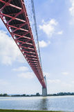 The Tancarville bridge. Is a suspension bridge over tfe Seine river Royalty Free Stock Image
