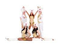 Tancerz drużyna jest ubranym ludu cossack kostiumy Zdjęcia Stock