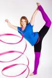 Tancerz gimnastyczna dziewczyna z faborkiem Zdjęcie Royalty Free