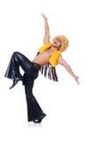 Tancerz w afro peruka tanu odizolowywającym Obraz Royalty Free
