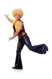 Tancerz w afro peruka tanu odizolowywającym Obrazy Stock