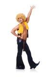 Tancerz w afro peruka tanu odizolowywającym Obrazy Royalty Free