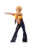 Tancerz w afro peruka tanu odizolowywającym Zdjęcia Stock