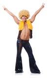Tancerz w afro peruka tanu odizolowywającym Fotografia Stock