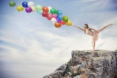 Tancerz z balonami Zdjęcia Royalty Free