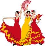 tancerza tanów fan flamenco dziewczyny ilustraci spanish Zdjęcia Stock