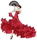 tancerza tanów fan flamenco dziewczyny ilustraci spanish Royalty Ilustracja