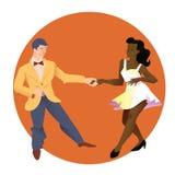 Tancerze Lindy chmiel Mężczyzna i kobieta różne narodowości tanczymy Płaska wektorowa ilustracja ludzie royalty ilustracja